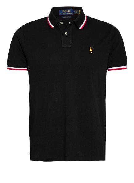 POLO RALPH LAUREN Piqué-Poloshirt Custom Slim Fit, Farbe: SCHWARZ/ WEISS/ ROT (Bild 1)
