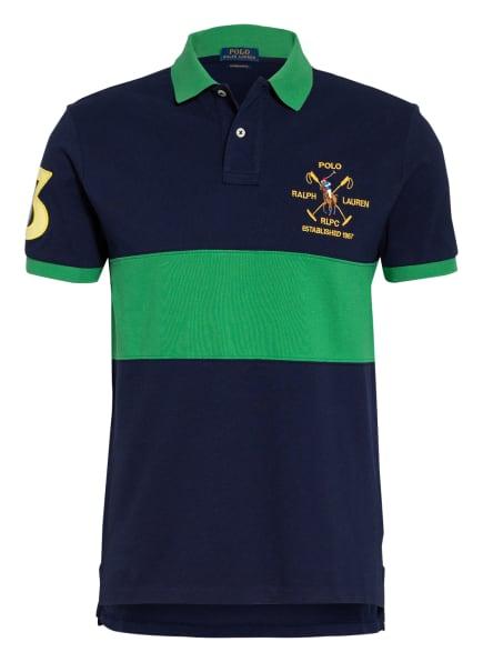 POLO RALPH LAUREN Piqué-Poloshirt Custom Slim Fit, Farbe: DUNKELBLAU/ GRÜN (Bild 1)