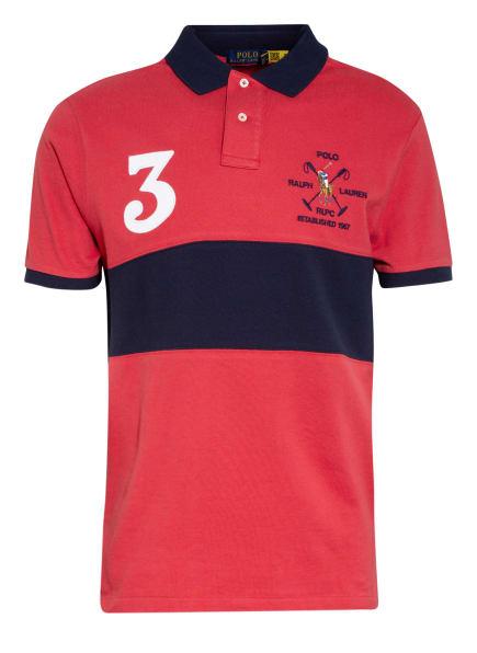 POLO RALPH LAUREN Piqué-Poloshirt Custom Slim Fit, Farbe: ROT/ DUNKELBLAU (Bild 1)