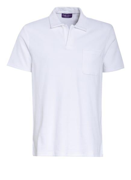 RALPH LAUREN PURPLE LABEL Frottee-Poloshirt, Farbe: WEISS (Bild 1)