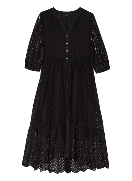s.Oliver BLACK LABEL Kleid mit Lochspitze und 3/4-Arm, Farbe: SCHWARZ (Bild 1)