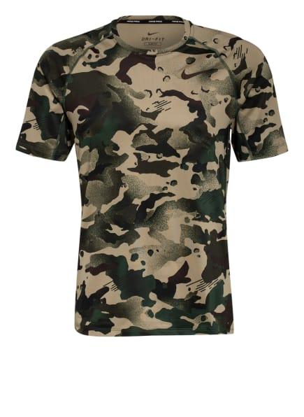 Nike T-Shirt PRO, Farbe: OLIV/ DUNKELGRÜN/ SCHWARZ (Bild 1)