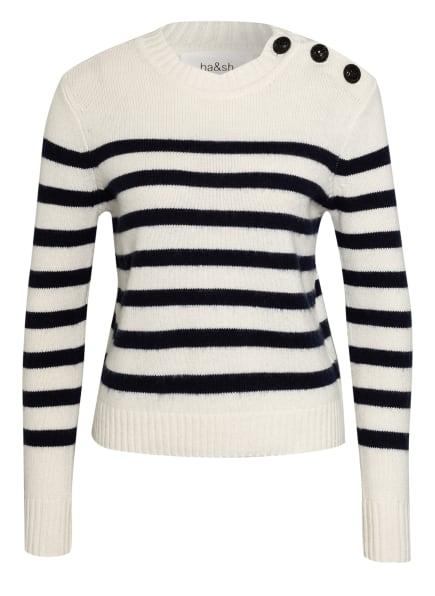 ba&sh Pullover SEAN mit Cashmere und Schmucksteinbesatz, Farbe: WEISS/ DUNKELBLAU (Bild 1)