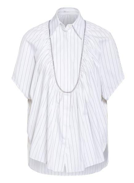 BRUNELLO CUCINELLI Oversized-Hemdbluse mit Schmucksteinbesatz, Farbe: WEISS/ SCHWARZ (Bild 1)