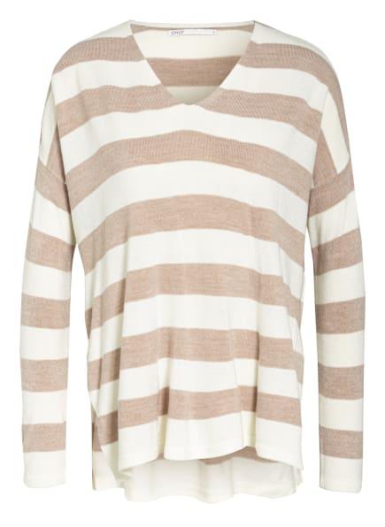 ONLY Oversized-Pullover, Farbe: HELLBRAUN/ WEISS (Bild 1)