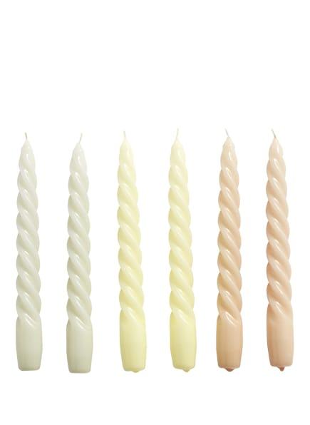 HAY 6er-Set Stabkerzen TWIST, Farbe: HELLGRÜN/ GELB/ HELLORANGE (Bild 1)