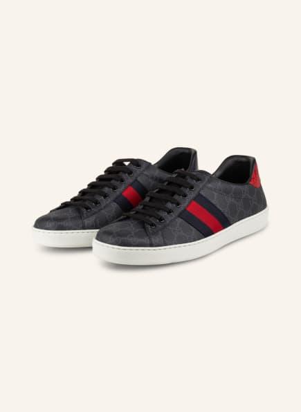 GUCCI Sneaker ACE GG SUPREME , Farbe: DUNKELGRAU/ DUNKELBLAU/ ROT (Bild 1)