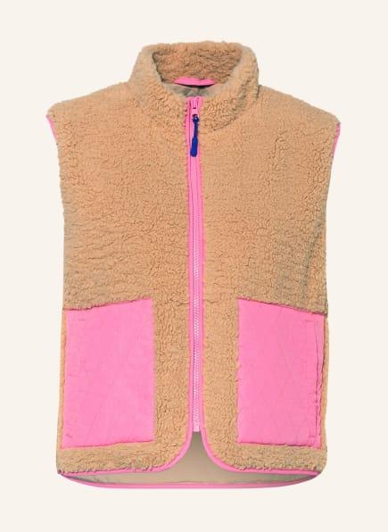 NEO NOIR Teddyfell-Weste SCOUT , Farbe: PINK/ CAMEL (Bild 1)