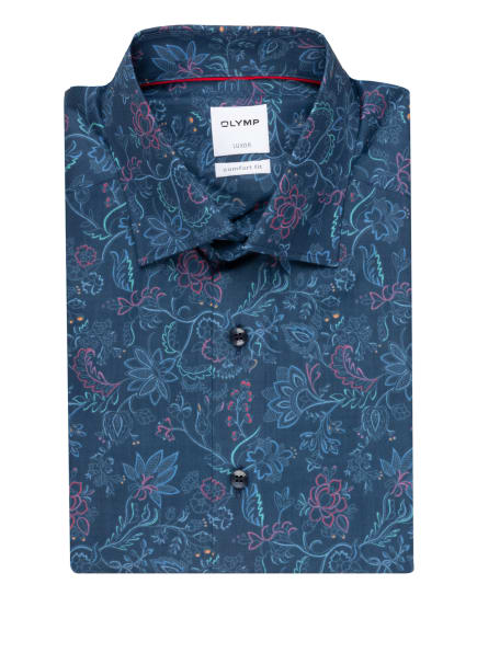 OLYMP Halbarm-Hemd Comfort Fit, Farbe: DUNKELBLAU/ FUCHSIA/ MINT (Bild 1)