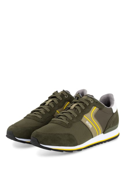 BOSS Sneaker PARKOUR RUNN, Farbe: OLIV/ GELB (Bild 1)