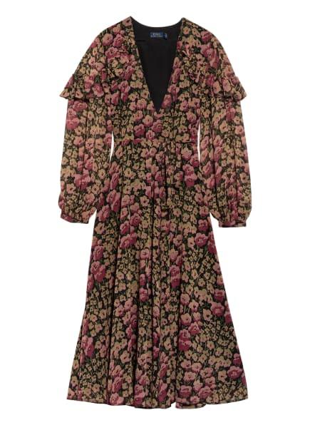 POLO RALPH LAUREN Wickelkleid mit Volants, Farbe: SCHWARZ/ DUNKELROT/ HELLROT (Bild 1)