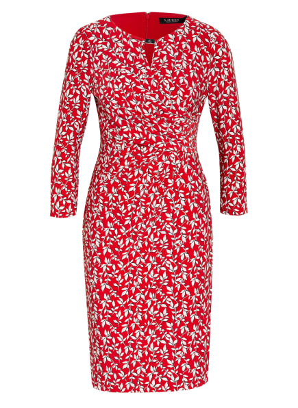LAUREN RALPH LAUREN Kleid CARLONDA mit 3/4-Arm in Wickeloptik , Farbe: ROT/ WEISS/ SCHWARZ (Bild 1)