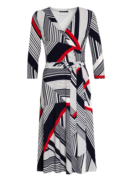 LAUREN RALPH LAUREN Kleid CARLYNA mit 3/4-Arm in Wickeloptik, Farbe: DUNKELBLAU/ WEISS/ ROT (Bild 1)