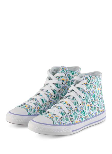 CONVERSE Hightop-Sneaker CHUCK TAYLOR ALL STAR, Farbe: WEISS/ GRÜN/ LILA (Bild 1)