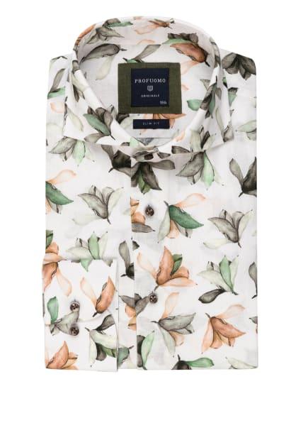 PROFUOMO Hemd Slim Fit mit Leinen, Farbe: WEISS/ GRÜN/ BEIGE (Bild 1)