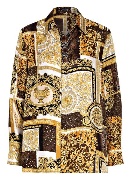 VERSACE Hemdbluse aus Seide, Farbe: SCHWARZ/ WEISS/ GOLD (Bild 1)
