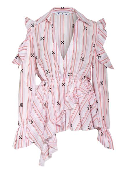 Off-White Blusenshirt mit Volantbesatz, Farbe: WEISS/ HELLROSA/ ROT (Bild 1)