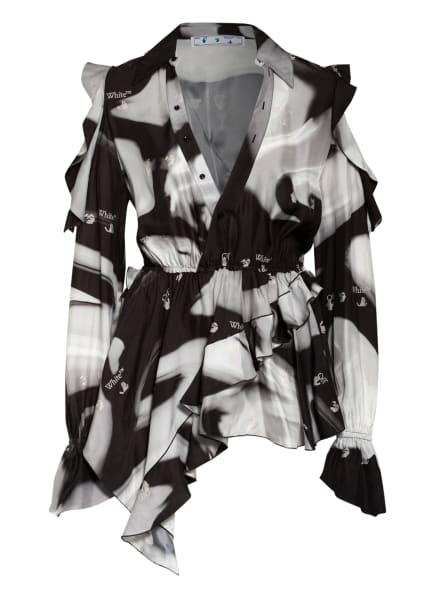 Off-White Blusenshirt mit Volantbesatz, Farbe: SCHWARZ/ GRAU/ ECRU (Bild 1)