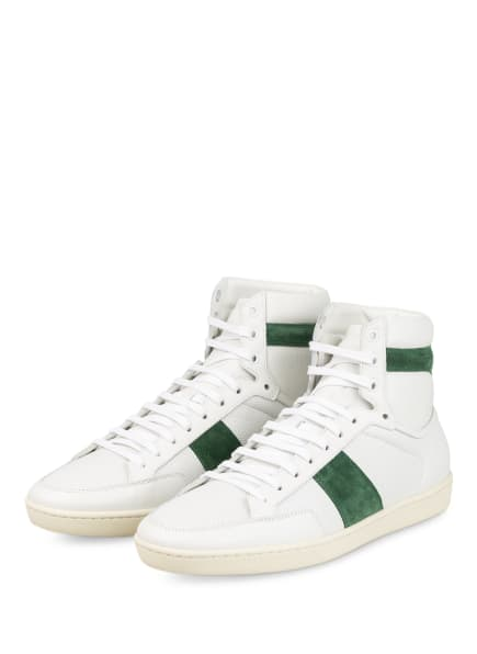 SAINT LAURENT Hightop-Sneaker , Farbe: WEISS/ DUNKELGRÜN (Bild 1)
