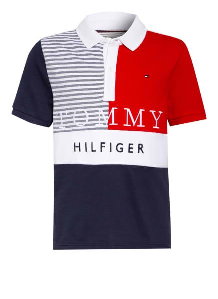 TOMMY HILFIGER Piqué-Poloshirt, Farbe: DUNKELBLAU/ ROT/ WEISS (Bild 1)