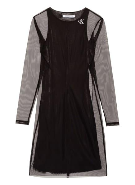 Calvin Klein Jeans Kleid mit Mesh-Besatz, Farbe: SCHWARZ (Bild 1)
