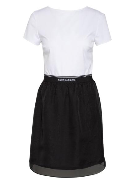 Calvin Klein Jeans Kleid im Materialmix, Farbe: WEISS/ SCHWARZ (Bild 1)