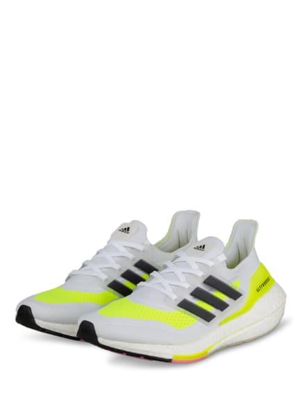 adidas Laufschuhe ULTRABOOST 21, Farbe: WEISS/ NEONGELB/ SCHWARZ (Bild 1)