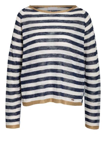 CINQUE Pullover LINDA mit Leinen, Farbe: DUNKELBLAU/ WEISS (Bild 1)
