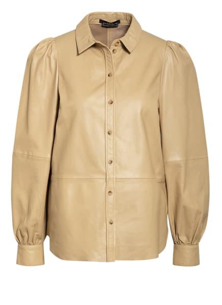 SET Hemdbluse aus Leder, Farbe: BEIGE (Bild 1)