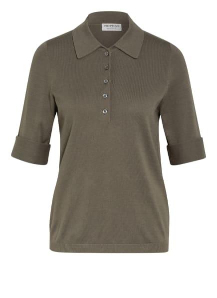REPEAT Strick-Poloshirt, Farbe: OLIV (Bild 1)