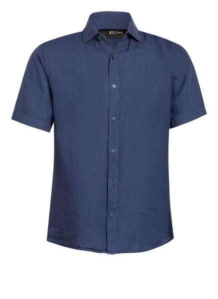 ZZegna Kurzarm-Hemd Extra Slim Fit aus Leinen , Farbe: BLAU (Bild 1)