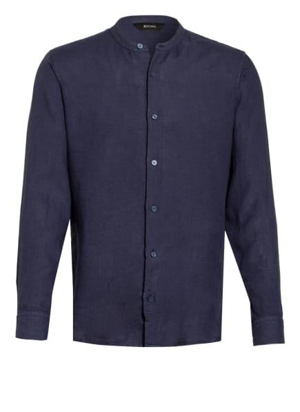 ZZegna Leinenhemd Extra Slim Fit mit Stehkragen , Farbe: DUNKELBLAU (Bild 1)