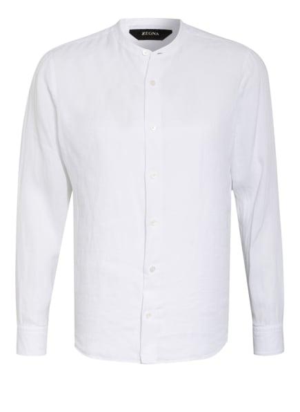 ZZegna Leinenhemd Slim Fit mit Stehkragen, Farbe: WEISS (Bild 1)