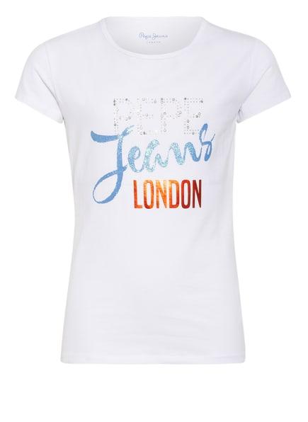 Pepe Jeans T-Shirt KATIA mit Schmucksteinbesatz, Farbe: WEISS (Bild 1)