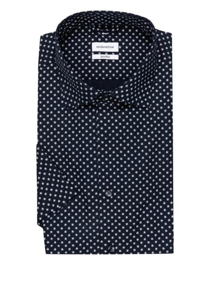seidensticker Kurzarm-Hemd Shaped Fit , Farbe: DUNKELBLAU/ WEISS (Bild 1)