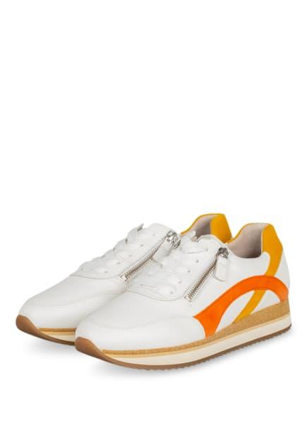 Gabor Plateau-Sneaker, Farbe: WEISS/ ORANGE/ DUNKELGELB (Bild 1)