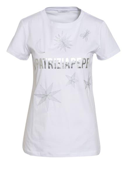 PATRIZIA PEPE T-Shirt mit Glitzergarn, Farbe: WEISS (Bild 1)