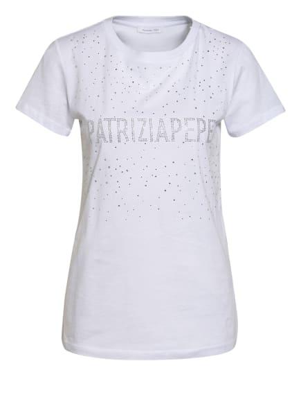 PATRIZIA PEPE T-Shirt mit Schmucksteinbesatz, Farbe: WEISS (Bild 1)