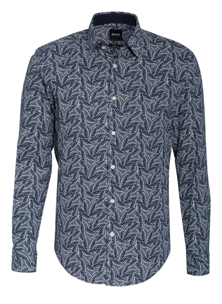 BOSS Leinenhemd RONNI Slim Fit, Farbe: DUNKELBLAU/ WEISS (Bild 1)