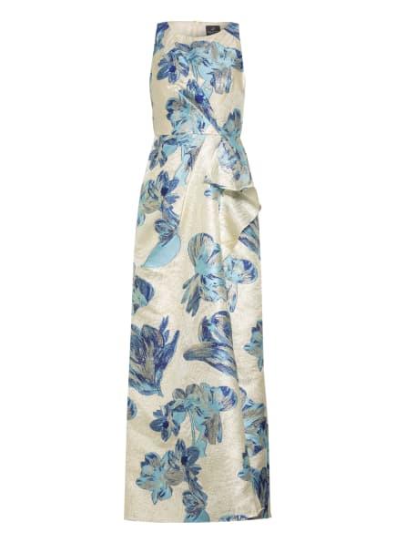 ADRIANNA PAPELL Abendkleid aus Brokat, Farbe: ECRU/ GOLD/ BLAU (Bild 1)