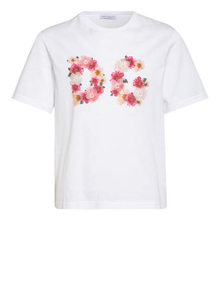 DOLCE&GABBANA T-Shirt mit Schmucksteinbesatz, Farbe: WEISS/ PINK (Bild 1)