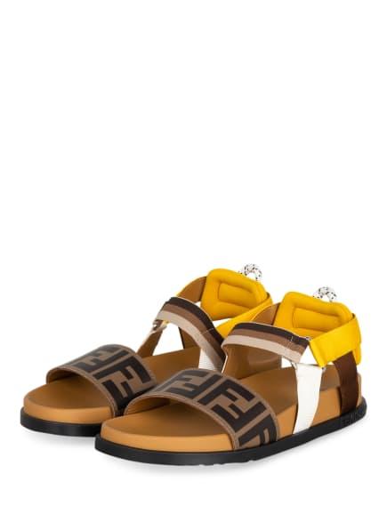FENDI Sandalen, Farbe: BRAUN/ COGNAC/ GELB (Bild 1)