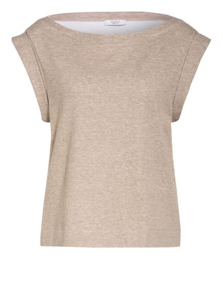 PESERICO T-Shirt im Materialmix, Farbe: TAUPE (Bild 1)