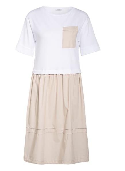 PESERICO Kleid im Materialmix, Farbe: WEISS/ BEIGE (Bild 1)