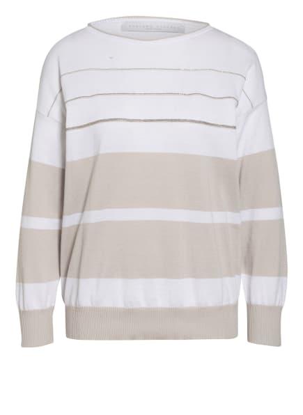 FABIANA FILIPPI Pullover mit Schmucksteinbesatz, Farbe: WEISS/ GRAU (Bild 1)