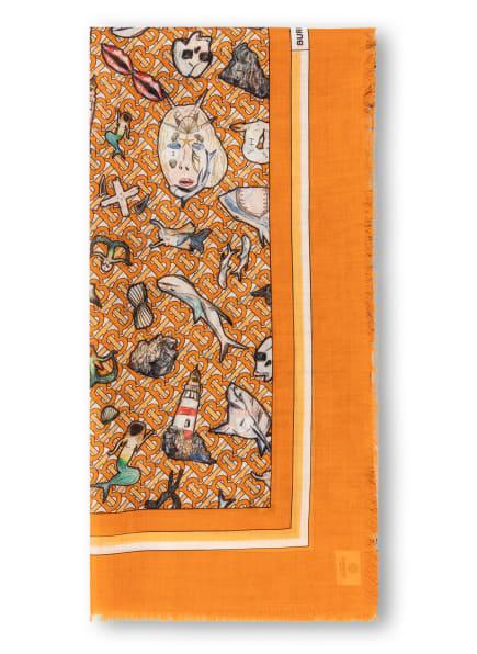 BURBERRY Tuch mit Seide, Farbe: ORANGE/ SCHWARZ/ WEISS (Bild 1)
