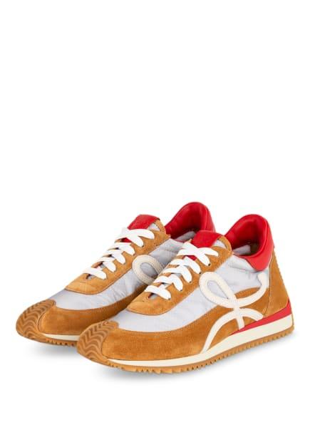 LOEWE Plateau-Sneaker FLOW RUNNER, Farbe: COGNAC/ SILBER/ ROT (Bild 1)