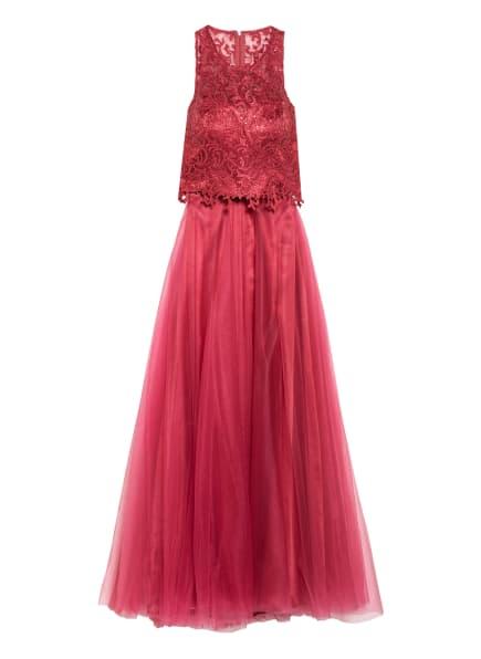 VM VERA MONT Abendkleid mit Spitzen- und Paillettenbesatz, Farbe: DUNKELROT (Bild 1)