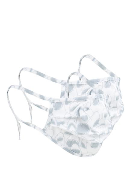 Sanetta KIDSWEAR 2er-Set Mund- und Nasenmasken, Farbe: WEISS/ GRAU (Bild 1)