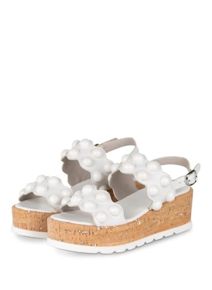 Pertini Plateau-Sandalen mit Nietenbesatz, Farbe: WEISS (Bild 1)